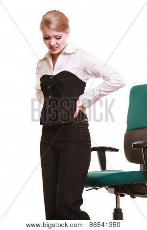 Businesswoman With Backache Back Pain Isolated