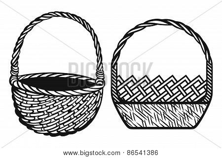 Empty wicker basket