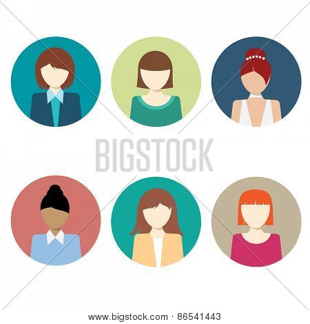 Colorful Female Faces Circle Icons Set - Flat Style