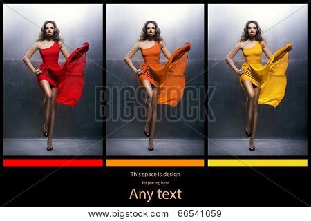 Young, beautiful and graceful woman in a blowing fashion dress. Different  versions. Warm color  concept.