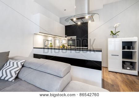 Modern Black And White Small Kitchen