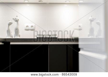 Detail Of Modern Black And White Kitchen