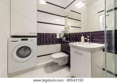 Modern Bathroom In Violet Style