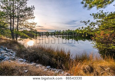 Hdr Sunset On Lake