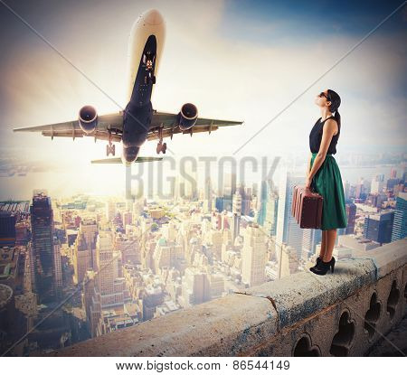 Tourist watch an aircraft