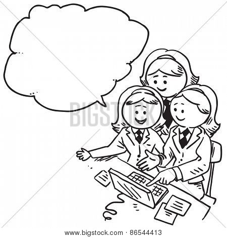 Businesswomen teamwork in office speaking