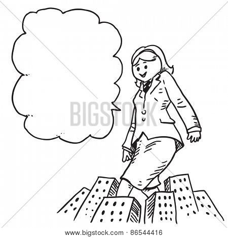 Giant businesswoman over city speaking