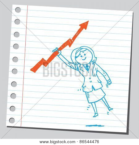Businesswoman hanging on arrow