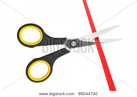 Scissors and ribbon isolated on white background