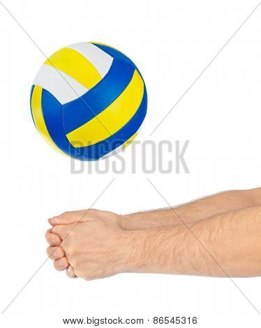 Hand and volleyball ball isolated on a white background