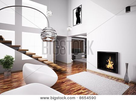 Interior With Fireplace And Staircase 3D