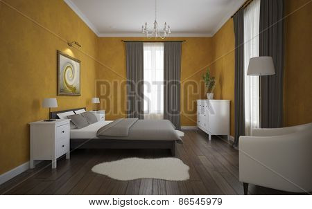 View of the orange bedroom with parquet floor 3D