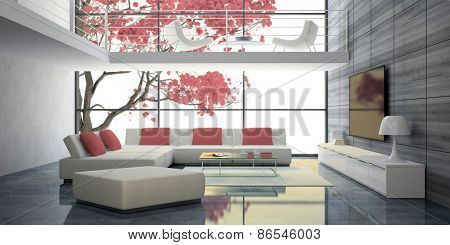 Modern interior with white sofas and pink pillows 3D