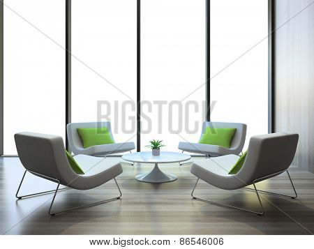 Modern interior with four armchairs and coffee table