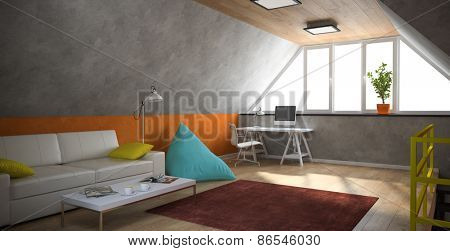 Interior of a modern loft with yellow railing and orange wall 3D