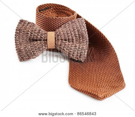 Male tie and bow tie isolated on white