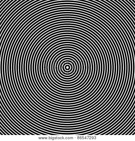 Concentric Circles. Abstract Black And White Graphics