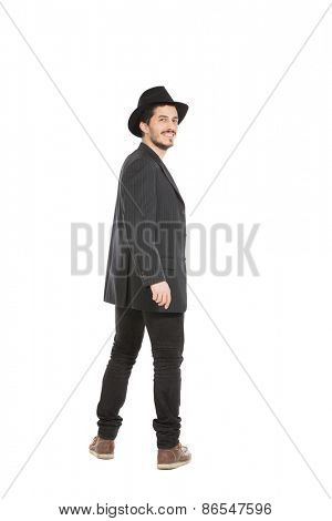 Young man with a hat isolated over white background