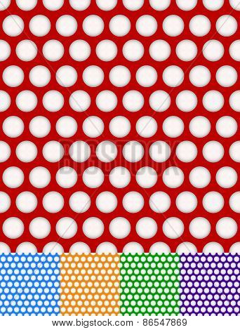 Polka Dot, Dotted Backgrounds. Repeatable Patterns With Circles Shapes. 5 Color Included