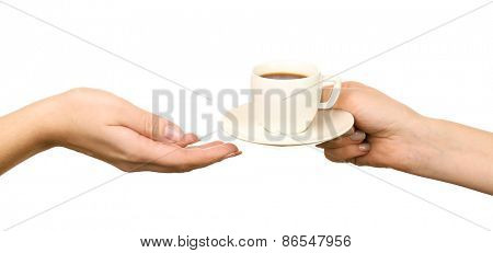 Female hands holding cup of coffee with saucer isolated on white
