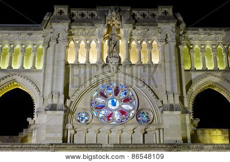 Rose window in Cuenca cathedral, Castilla La Mancga, Spain.