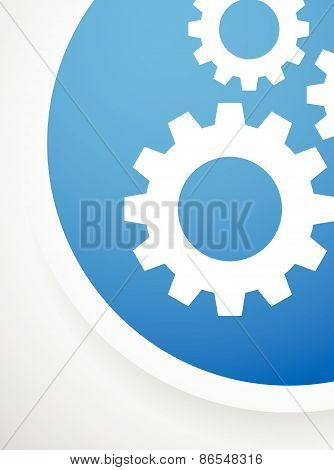 Circle Shape Icons With Gears, Cogwheels, Gearwheels Or Cogs. Separated Versions With The Same Color