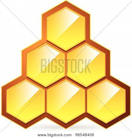 Honeycomb, Honey Cell Illustration / Icon Isolated. Organic Sweetener, Natural Food, Nutrition, Heal
