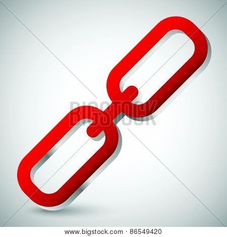Chain Link Icon. Single Red Chain Link Isolated On White With Metallic Effect