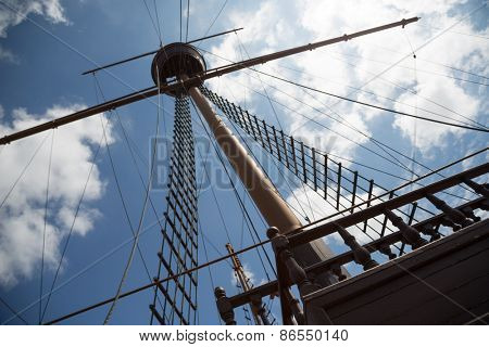 Mast and rigging on a sailing wooden ship.