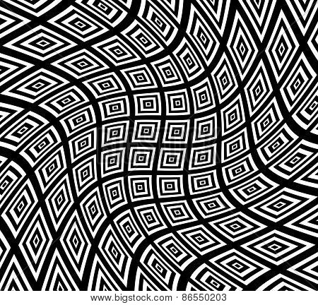 Square Pattern With Swirling Distortion Effect. Spiral, Twirl, Swirl Background.