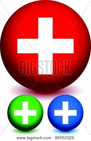 Icons With Plus Sign. Sign For Medical, First-aid, Health-care Concepts