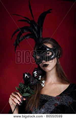 Goth girl on a dark red background
