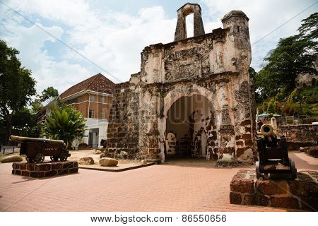 The Porta de Santiago in Malacca. It all that remains of the Portuguese A`Famosa fortress at Malacca.