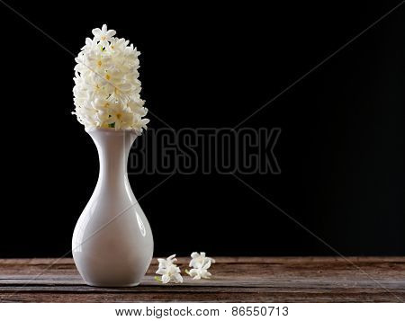 Beautiful white hyacinth flower in vase on table on black background