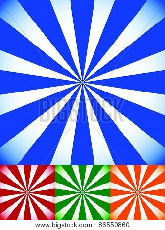 Set Of Colorful Sunburst, Starburst Backgrounds With Radiating Rays, Lights