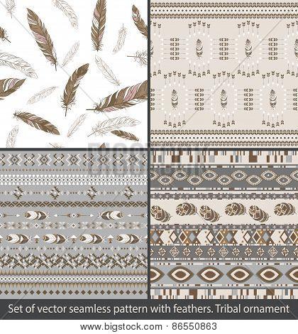Set Of Seamless Patterns. Ethnic Indian Pattern.