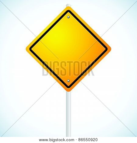 Empty Orange Road Sign On Pole