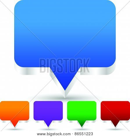 3D Speech, Talk Bubble Icons (can Be Used As Map Pins, Map Markers)