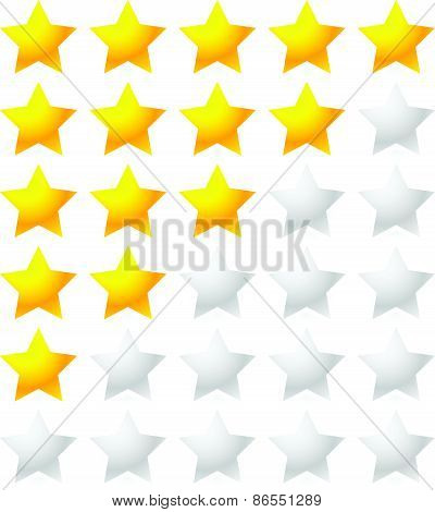 5 Star Rating System. Star Rating Vector With Bright Star Shapes Isolated On White. Appraisal, Evalu