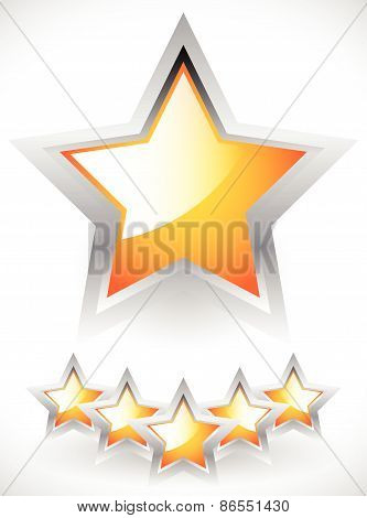 Glossy Orange-yellow Stars With Gray Frame