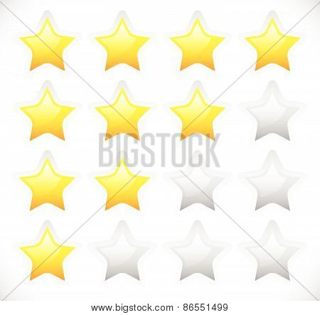 Star Rating Template Vector With Rounded, Bright Stars