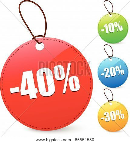 Discount Tags With 40, 10, 20, 30 Percents