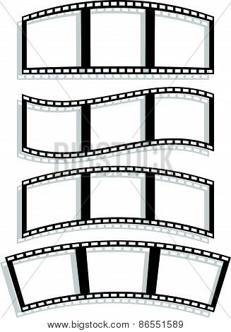 Set Of Filmstrip Silhouettes With Different Distortion Effect. Wavy, Arching, Curving Filmstrips.