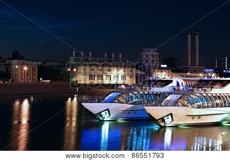 Tourist Pleasure Yachts On The Moscow River At Night