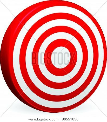 Bright Red Target Vector Render. Bullseye Icon. Element For Accuracy, Aims, Accuracy, Targeting Conc