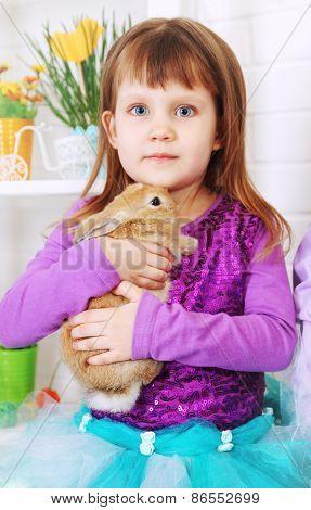 Girl Hugged Rabbit