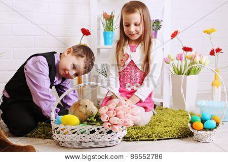 Children With Rabbit