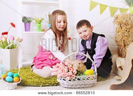 Children Stroking Rabbit