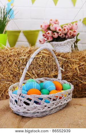 Large Basket With Colored Eggs