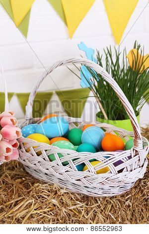 Festive Basket With Colored Eggs